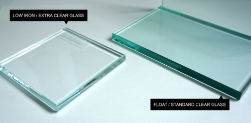 Low iron extra clear glass and Float Standard Clear glass samples