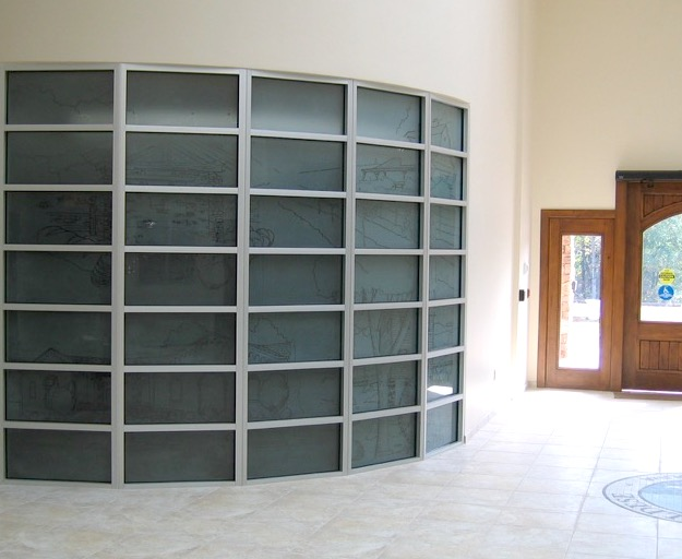 large etched glass office installation