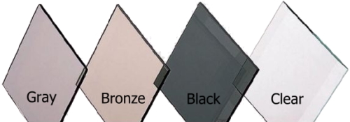 Glass Color samples - Gray, Bronze, Black, Clear
